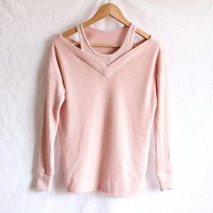 Anthropologie Saturday/Sunday pink v-neck sweater